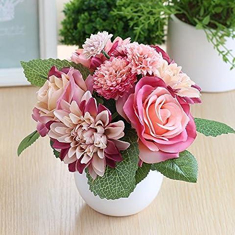Clg-fly Creative Simulation plantes en pot Pot de fleurs artificielles Décoration Mobilier de décoration de la maison Table basse TV Support de table Décoration