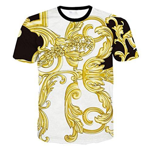 (GreatestPAK 3D Gold Print Sommer T-Shirts Top Jungen Männer T Shirt,Weiß,XXXL)