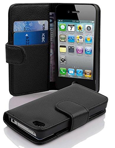 Cadorabo Coque pour Apple iPhone 4 / iPhone 4S / 4G Noir DE Jais Housse de Protection Etui Portefeuille Case Cover pour iPhone 4 / iPhone 4S / 4G - Stand Horizontal et Fente pour Carte