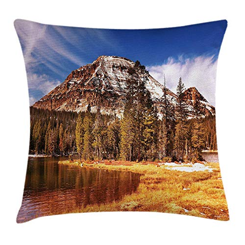 VTXWL Americana Landscape Decor Throw Pillow Cushion Cover, Countryside in Fall Rocky Cliffs by Creek Pine Grassland Natural Park, Decorative Square Accent Pillow Case, 18 X 18 inches, Multi -