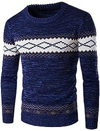 Zicac Herren Strickpullover Slim Fit Feinstrick Rund-Ausschnitt Langarm Pullover Winter Frühling Sweatshirt Strickjacke