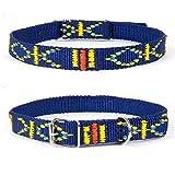 Strapazierfähiges Nylon Hunde Halsband Native Look große Hunderassen L XL XXL bunt blau M