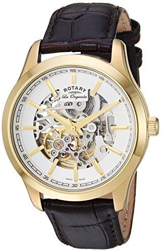 Rotary Watches GS90526-06 GS90526/06 - Reloj para hombres, correa de cuero color marrón