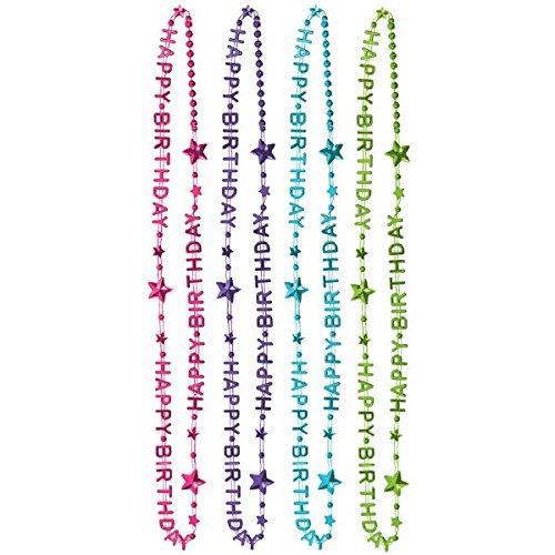 6 Halsketten Happy Birthday Pink&Teal Uni