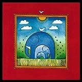 Linda Edwards Three little elephants Poster Kunstdruck Bild im Alu Rahmen in schwarz 40x40cm
