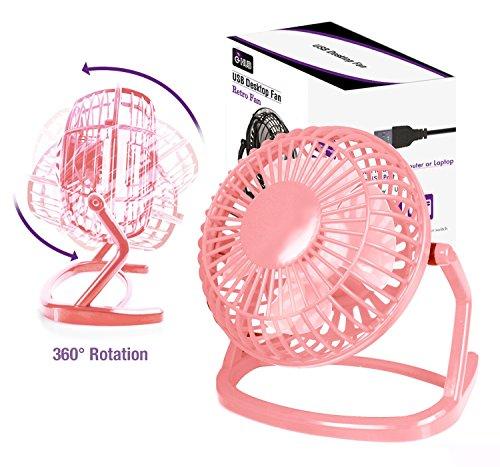 """4"""" LEICHTGEWICHTS USB Ventilator - ROSA Portabel USB TISCHVENTILOR für LAPTOP / REISEN / TISCH / WAGEN / SCHREIBTISCH (Transportabel) mit USB Stecker (Pink Retro USB Desk Fan with USB Connection)"""