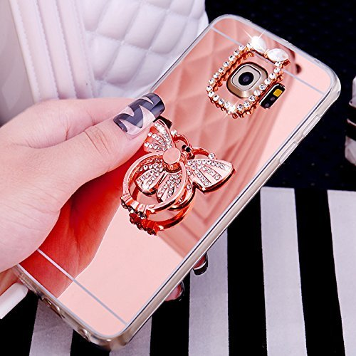 Galaxy S7 Coque,Galaxy S7 Housse Diamant,ETSUE Mode Luxe Miroir Bling Glitter Galaxy S7 Silicone Coque Luxueux Crystal Scintiller Doux Coque Bague, Galaxy S7 Etui Coque Rose Romantique Élégant Fleur C Papillon Or Rose