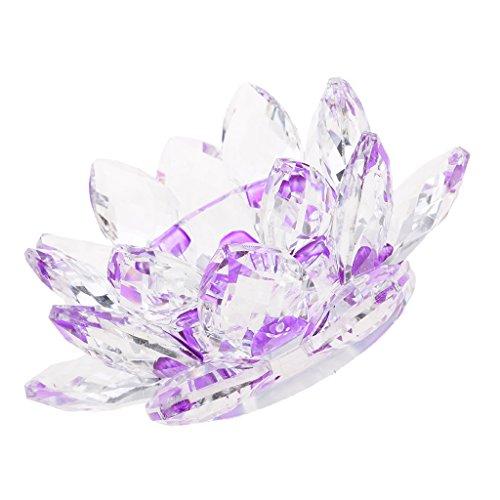 Baoblaze Kristall Glas Lotusblüte Kerze Teelicht Halter Buddhistisch - Lila
