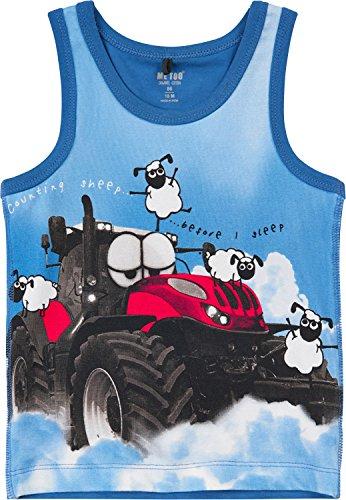 Me Too Bio-Unterhemd mit Druckmotiv blau Größe - Jungen Traktor Unterwäsche