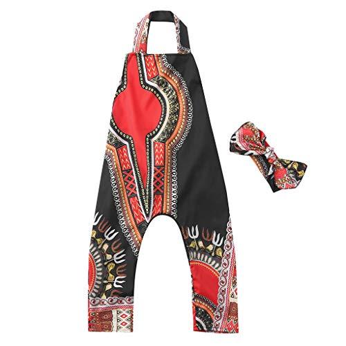 Janly_Top Kinder Kleiden,Janly Kleinkind Baby Mädchen Afrikanischer Druck Sleeveless Spielanzug Haarband Overall Kleidung (90, Schwarz)