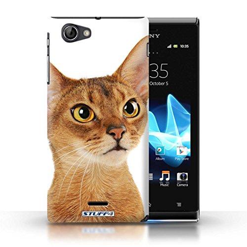 Kobalt® Imprimé Etui / Coque pour Sony Xperia J (ST26i) / Sibérien conception / Série Espèces de chats Abyssinien