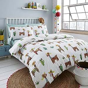 Happy Linen Company Set biancheria da letto con copripiumino e federe double face , Cotone, bianco, Doppio