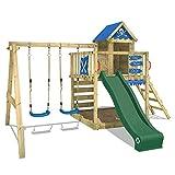 WICKEY Spielturm Smart Cave Kletterturm Spielhaus auf Podest Grün mit Schaukel und Rutsche, großem Sandkasten, Kletterwand und Kletterleiter
