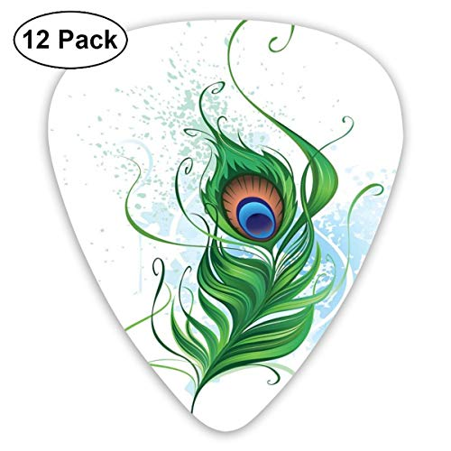 Guitar picks 12-pack,bird feather with stained watercolor background abstract nature tattoo style