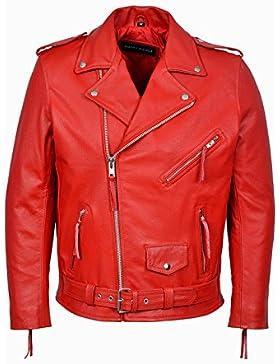 Men's BRANDO rojo Classic chaqueta para Moto y de piel de vaca auténtica