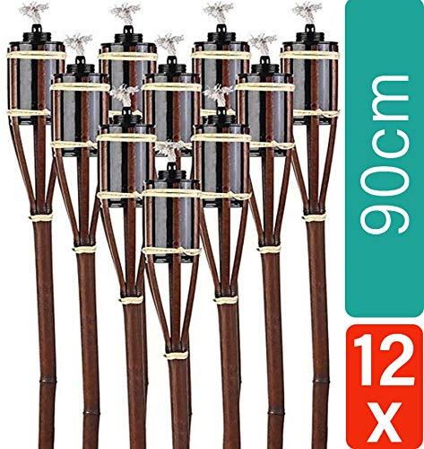 12 Gartenfackeln Bambusfackel 90 cm Braun Set mit Docht I Lange Brenndauer I Fackel für Garten
