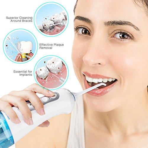 Irrigador Dental Profesional Irrigador Bucal Irrigador Oral Eléctrico Portátil Morpilot Dientes Limpiar Agua Flosser Cuidado Dental Cuidado Oral con 4 Boquillas de Reemplazo y Batería Recargable