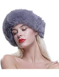 URSFUR Gorro de piel de lujo para mujer verdadera piel de zorro 5705b6b6a51