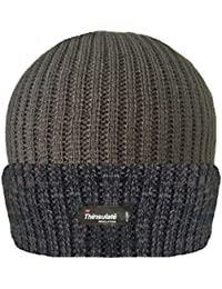 7c437bc08f9 MENS RIBBED 3M THINSULATE LINED INSULATING WARM WINTER BEANIE HAT IN  MELANGE COLOURS