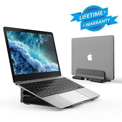 Seeda Support pour Ordinateur Portable, 6 Angles Ajustables, Support en Aluminium Pliable Réglable Bureau MacBook Support Ventilé pour 7–38,1cm Ordinateur Portable/IPad/Tablettes (Gris)
