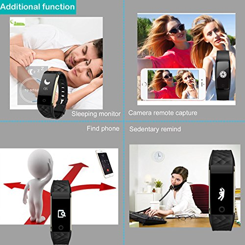 AsiaLONG Smart Bracelet Heart Rate Fitness Activity Tracker Pedometer Wristband with Sleep Tracker, 3 Axis G-Sensor, Call Message Reminder Waterproof Smartwatch for Swimming Biking Running for Android and iOS Smart Phones (Black)