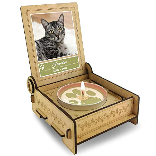 TROSTLICHT | Trauerkerze Katze | personalisiert mit Foto & mit Namen | Holz-Box mit Spruch & Pfote | Andenken Katze Erinnerung | Trauer Haustier (Spruch Glück) - Andenken-foto-box