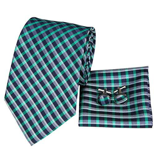 Hi-Tie Schottenkaro Krawatte Jacquard Einstecktuch Manschettenknöpfe quadratisch Geschenkbox - Blau - Einheitsgröße -