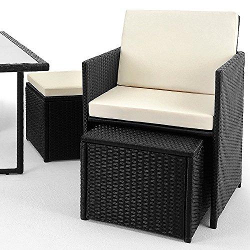 Deuba® Poly Rattan Sitzgarnitur 8+1 | Cube Design | 7cm dicke Auflagen in creme | klappbare Rückenlehne | platzsparend [ Modellauswahl 2+1 | 4+1 | 8+1 | 10+1 ] - Sitzgarnitur Gartengarnitur Rattanmöbel Gartenmöbel Set - 5