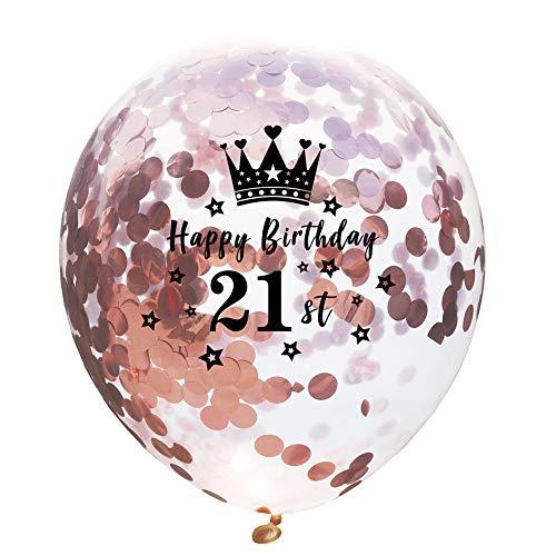 Haodou Geburtstag Deko Luftballons Party Luftballons Konfetti Transparent Ballon für Hochzeit Party Geburtstagsfeier Valentinstag Dekorationen Rosegold(21st)