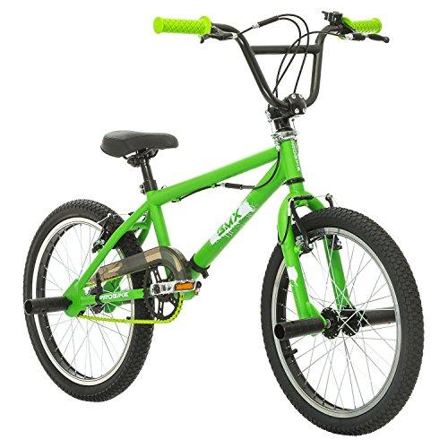 Multibrand Distribution Probike, BMX 20 Zoll, Freestyle Bike, BMX, 360° Rotor-System, 4 Stahl Pegs, Kettenschutz, Freilauf (Grün-Grün) -