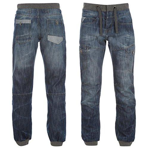 airwalk-cuffed-jogger-herren-jeans-denim-jogginghose-hose-kordelzug-freizeit-blau-32w-l