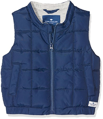 TOM TAILOR TOM TAILOR Unisex Baby Strickjacke Weste Uni s-Less Stand-up-Coll, Blau (Estate Blue 6845), 62
