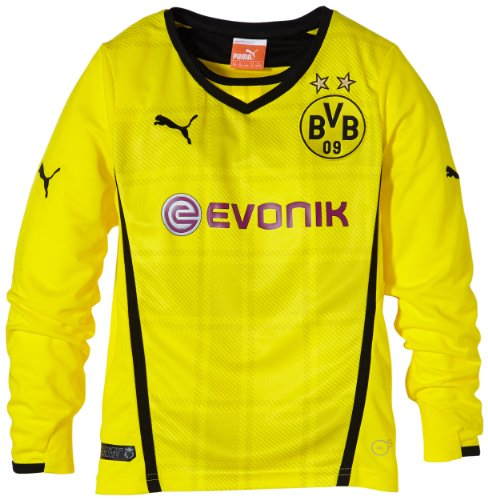 PUMA Kinder BVB Langarm Trikot Kids Long Sleeve Home Replica Shirt, Blazing Yellow/Black, 128, 743564 01 (Boys Langarm-shirt Black)