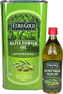 Euro Gold 5Ltr Pomace & 1Ltr Extra Virgin Olive Oil (Pack Of 2)