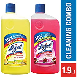 Lizol Disinfectant Floor Cleaner - 975 ml (Citrus) with Lizol Disinfectant Floor Cleaner - 975 ml (Floral)