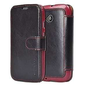 Moto E 2nd Gen Case Wallet - Mulbess [Layered Dandy][Black] - [Slim][Wallet Case] - Premium Leather Flip Case With Credit Card Slot for Motorola Moto E 2015 (2nd Generation)