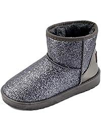 JUWOJIA Las Mujeres Botas De Nieve Zapatos Bling Pelo Grueso Patchwork Invierno Cálido Botas Cortas,Plata,38