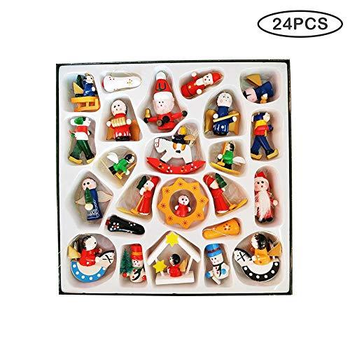 Handgefertigte Weihnachtskugeln aus Holz, 24 Stück -