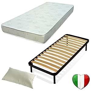 Set 120x190 rete materasso e cuscino kit letto completo for Letto 120x190 ikea