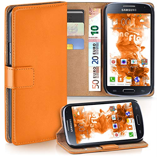 moex Samsung Galaxy S4 Mini   Hülle Orange mit Karten-Fach 360° Book Klapp-Hülle Handytasche Kunst-Leder Handyhülle für Samsung Galaxy S4 Mini Case Flip Cover Schutzhülle Tasche
