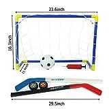 Mecotech 2-in-1 Bambini Porta di Calcio Rete da Calcio Calcetto + Hoop di Hockey su Ghiaccio Giocattolo Pieghevole Portatile da Allenamento Sportivo per Bambini