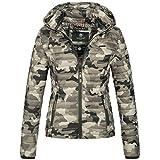 Marikoo SAMTPFOTE Damen Stepp Jacke Daunen Look gesteppt Übergang XS-XXL 11-Farben, Größe:M;Farbe:Camouflage Grau