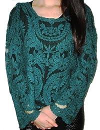 Dayiss® Damen Dunkelgrün Sexy Bluse Pullover Semi-transparant Strickerei Floral Gehäkelt Süß T-Shirt Neu