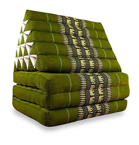 livasia Jumbo Thaikissen, asiatisches Sitzkissen, Relaxkissen, Liegematte für In-und Outdoor (grün/Elefanten)