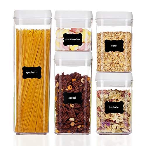 Vtopmart Vorratsdosen Set&Schüttdose|5er Frischhaltedosen|BPA frei|Luftdicht Wasserdicht |Vorratsbehälter mit 24 kostenlose Tafelaufkleber und 1 Marker