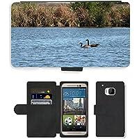 Grand Phone Cases PU Leather Flip Custodia Protettiva Case Cover per // M00141718 Oies rivière Natation Canada Goose Eau // HTC One M9