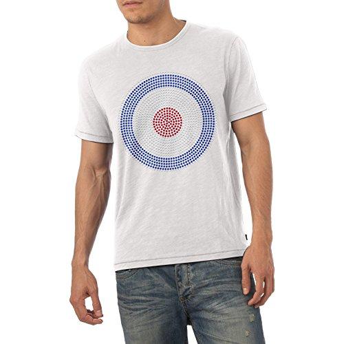 Herren BULLSEYE Ziel Rhinestone Diamante Gem Crystal T shirt- Erwachsene Größe S-XL [ Weiß