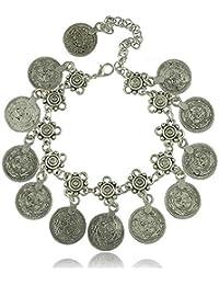 idealway Adjustable Handmade floral design Boho Gypsy Beachy Ethnic Tribal Festival Jewelry Turkish Bohemian Flower Child Coin Anklet Silver Bracelet