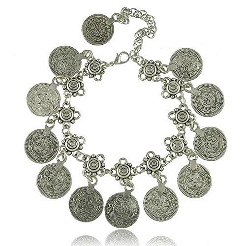 idealway verstellbar handgefertigt Muster, Boho Gypsy Beachy Ethnic Tribal Festival Jewelry Türkische Bohemian Blumen Kind Münze Fußkettchen Silber Armband