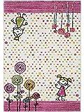 benuta Kinderteppich Noa Princess Pink 140x200 cm | Teppich für Spiel- und Kinderzimmer